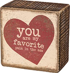 """Primitives by Kathy 3"""" x 3"""" MINI Decorative Box Sign - You Are My Favorite Pain,Brown, Red, Cream, Vintage"""
