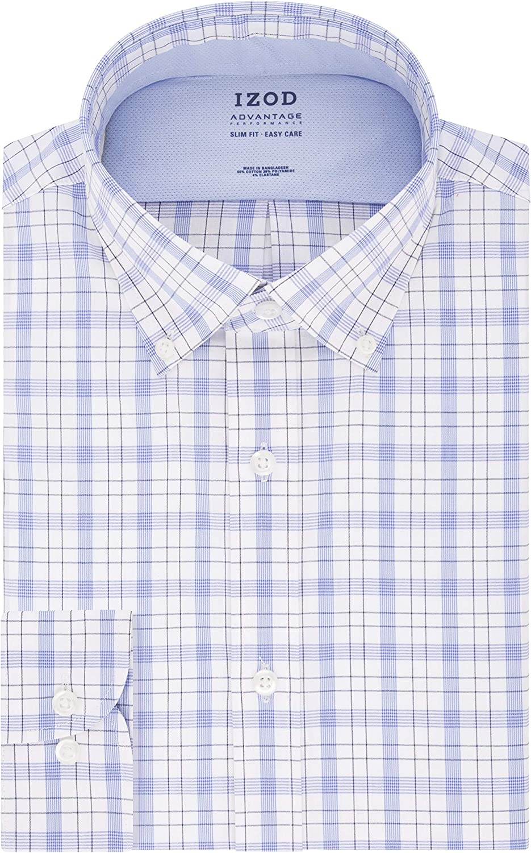IZOD Men's Dress Shirt Slim Fit Stretch Cool FX Cooling Collar Check