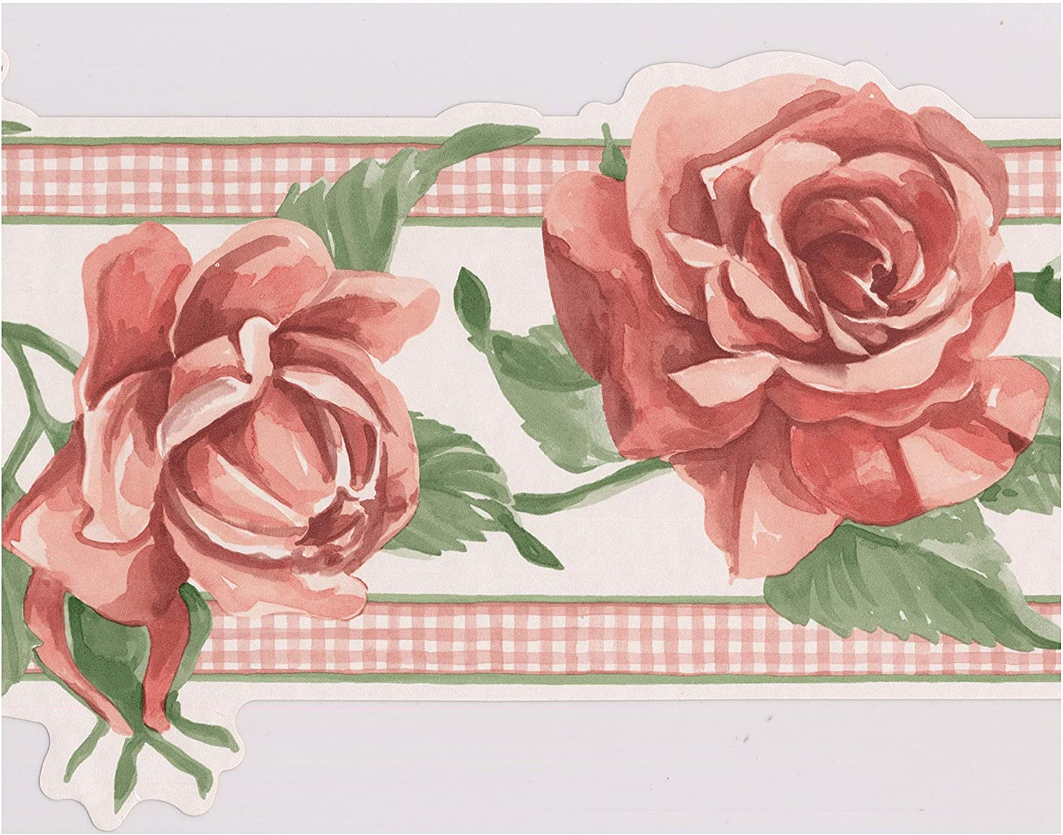 Blooming Pink Red Roses On Vine Floral Wallpaper Border Retro
