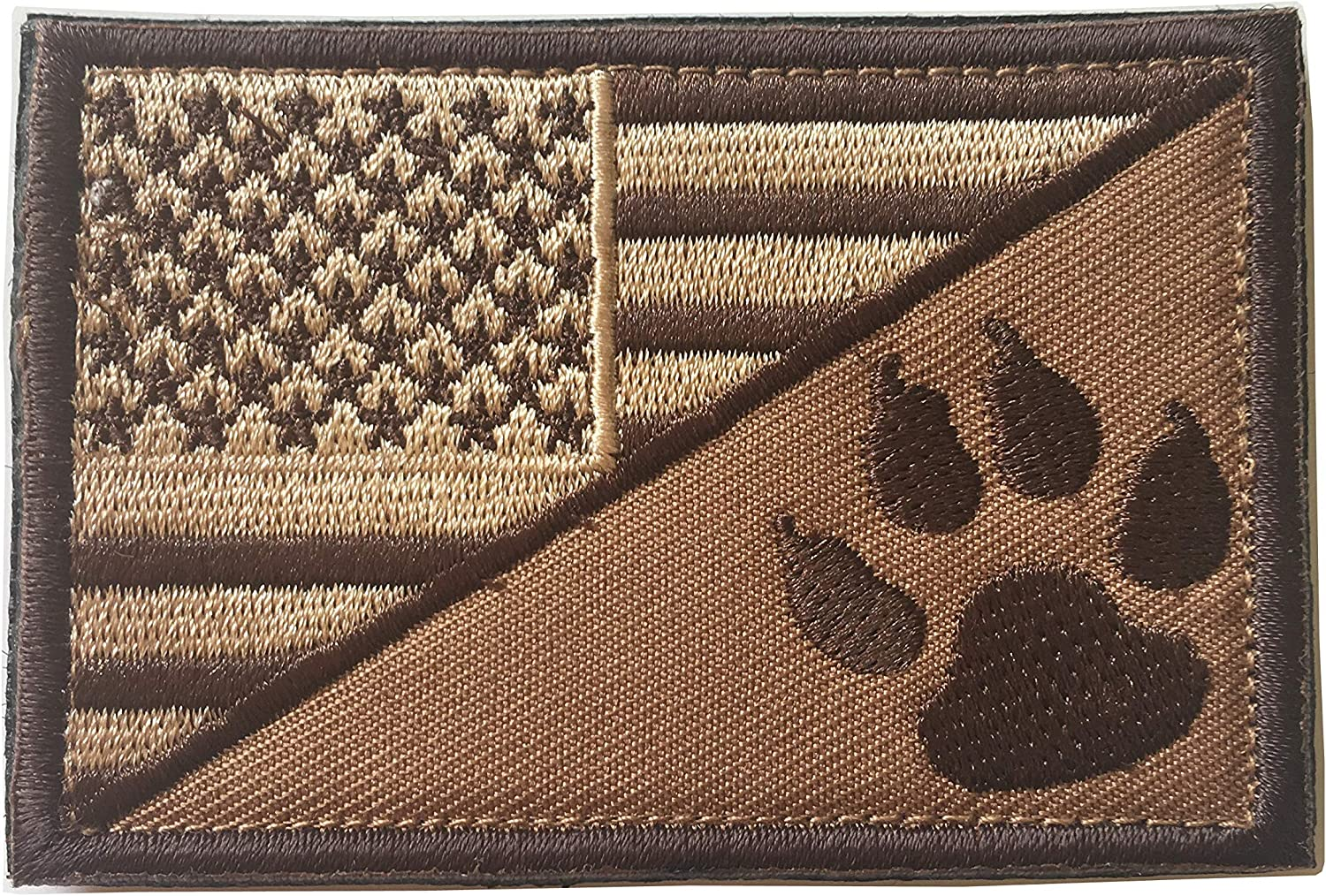 Red USA American Flag w//Dog Tracker Paw Embroidered Applique Morale Hook /& Loop Patch