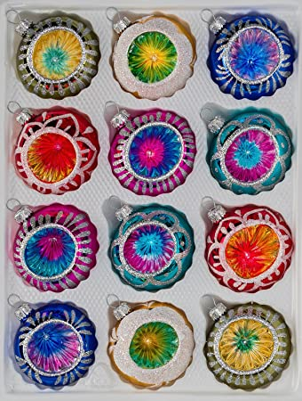 """12 tlg Glas-Reflexkugeln Weihnachtskugeln Set in """"Hochglanz Vintage Style"""""""