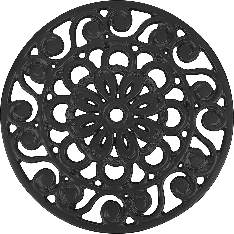 Trademark Innovations Decorative Cast Iron Metal Trivet (Black)