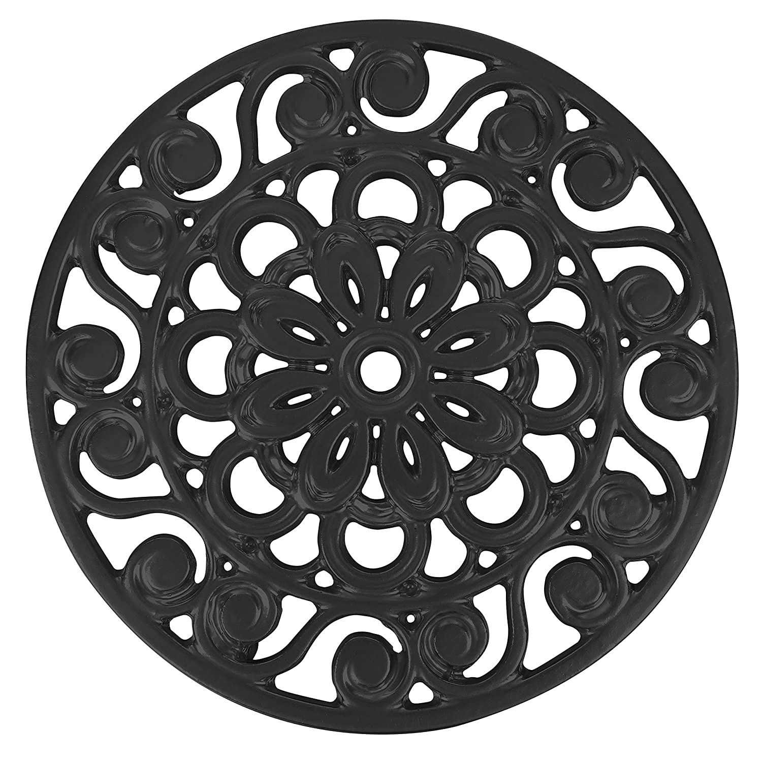 Trademark Innovations TRIV-METAL-BL Decorative Cast Iron Metal Trivet, Black
