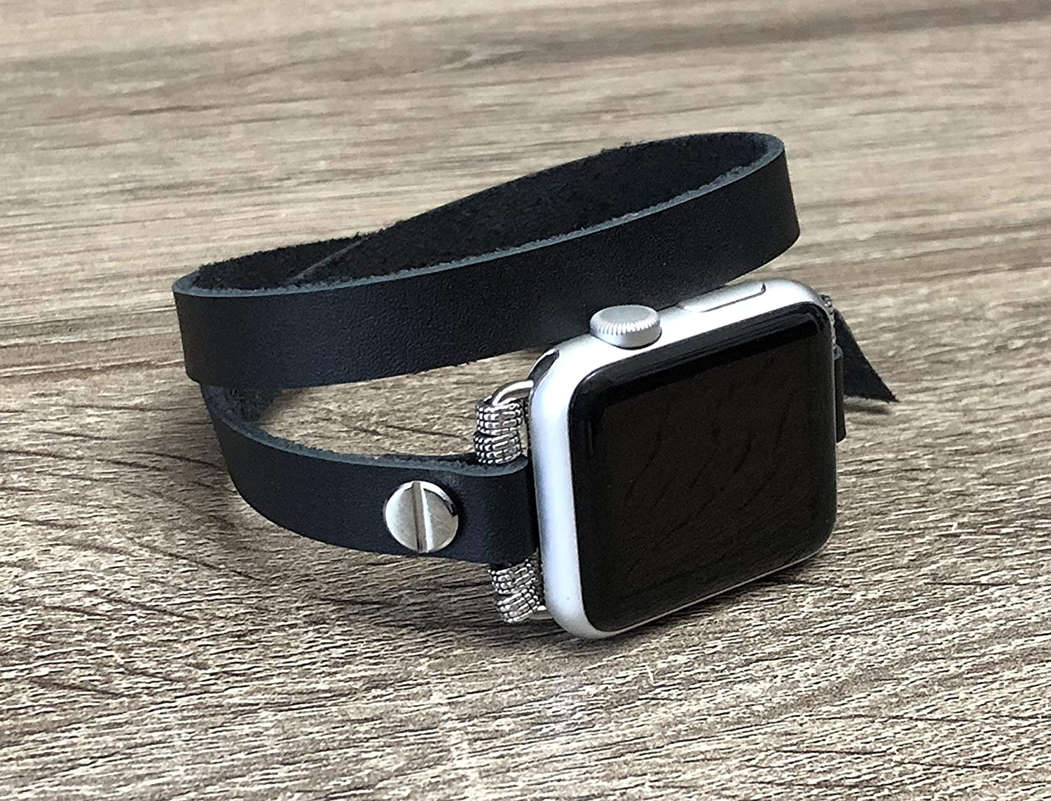 B07F7QCQ7N Black Leather Bracelet For Apple Watch 38mm 40mm 42mm 44mm Series 5 4 3 2 1 Handcrafted Double Wrap iWatch Band Adjustable Size Strap iWatch Bracelet Unisex Silver Jewelry Wristband 91wYd2BnPKHL