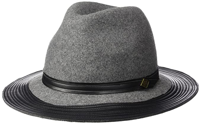515b78d8f7fb3 Goorin Bros. Women s Min Wide Brim Fedora with Faux Leather Band and ...