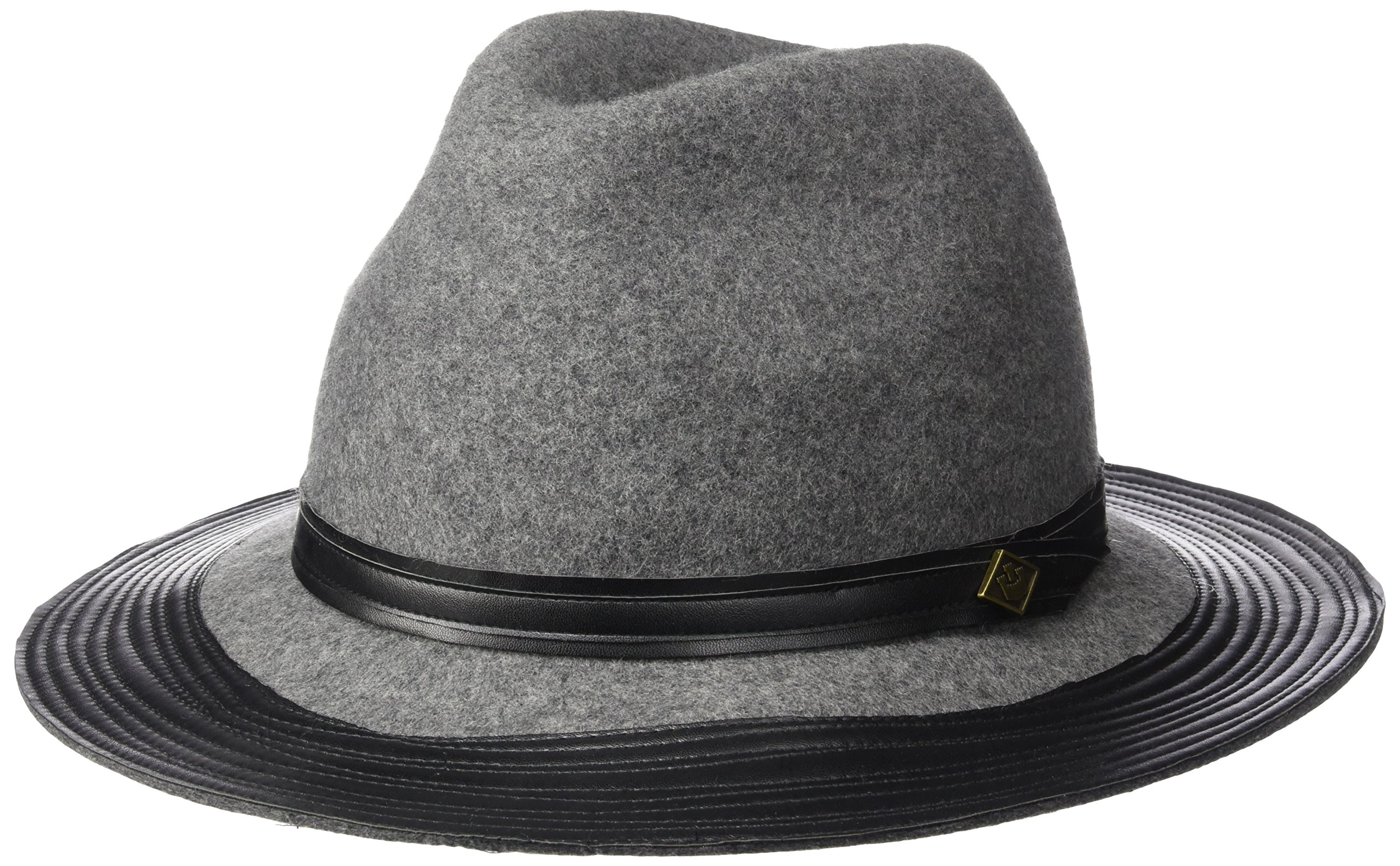 Goorin Bros. Women's Min Wide Fedora with Faux Leather Band and Brim, Gray Medium