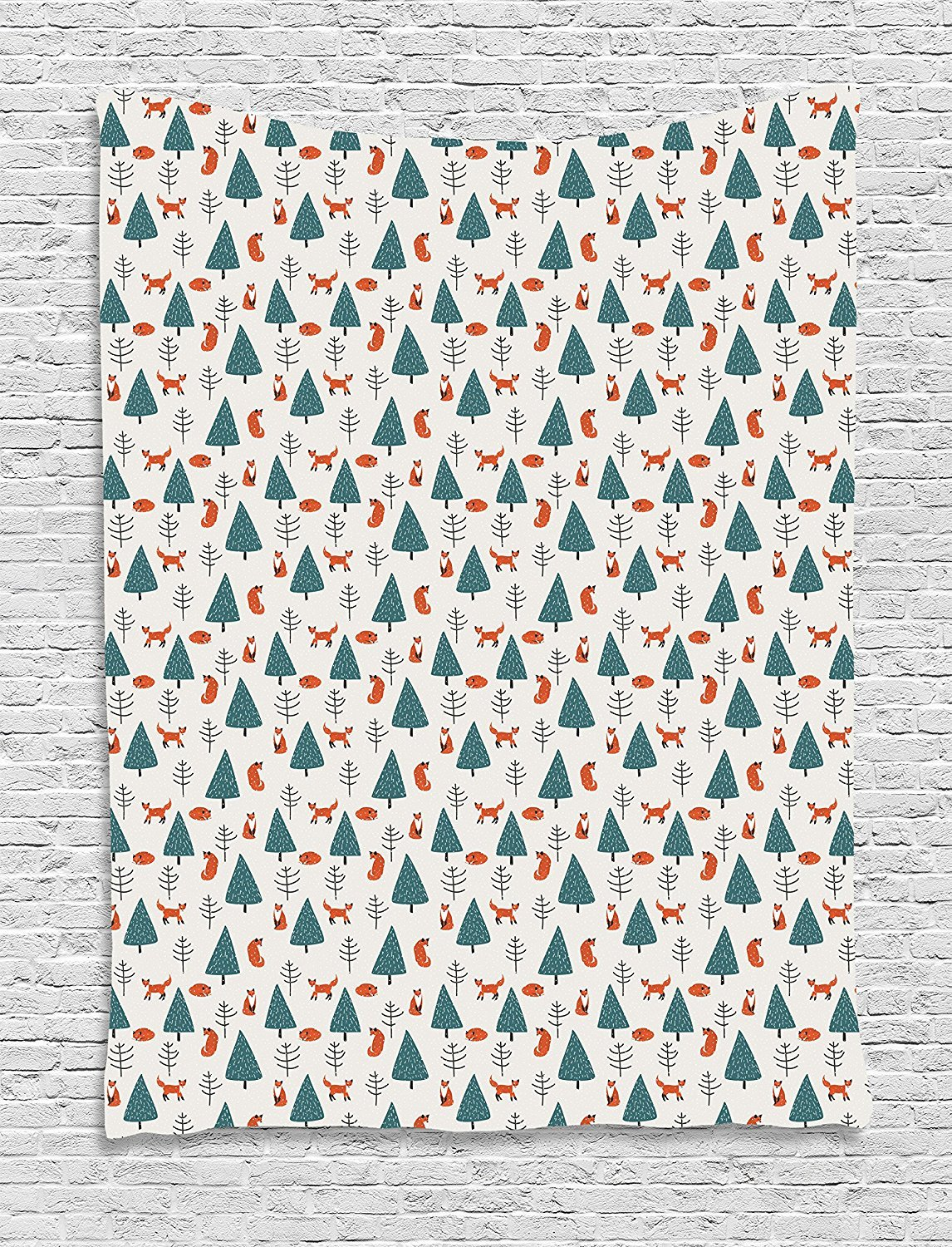 asddcdfdd Fox Tapestry, Cute Orange Foxes in a Snowy Winter Forest Animals of Cold Climates Cartoon, Wall Hanging for Bedroom Living Room Dorm, 60 W X 80 L Inches, Teal Orange Black