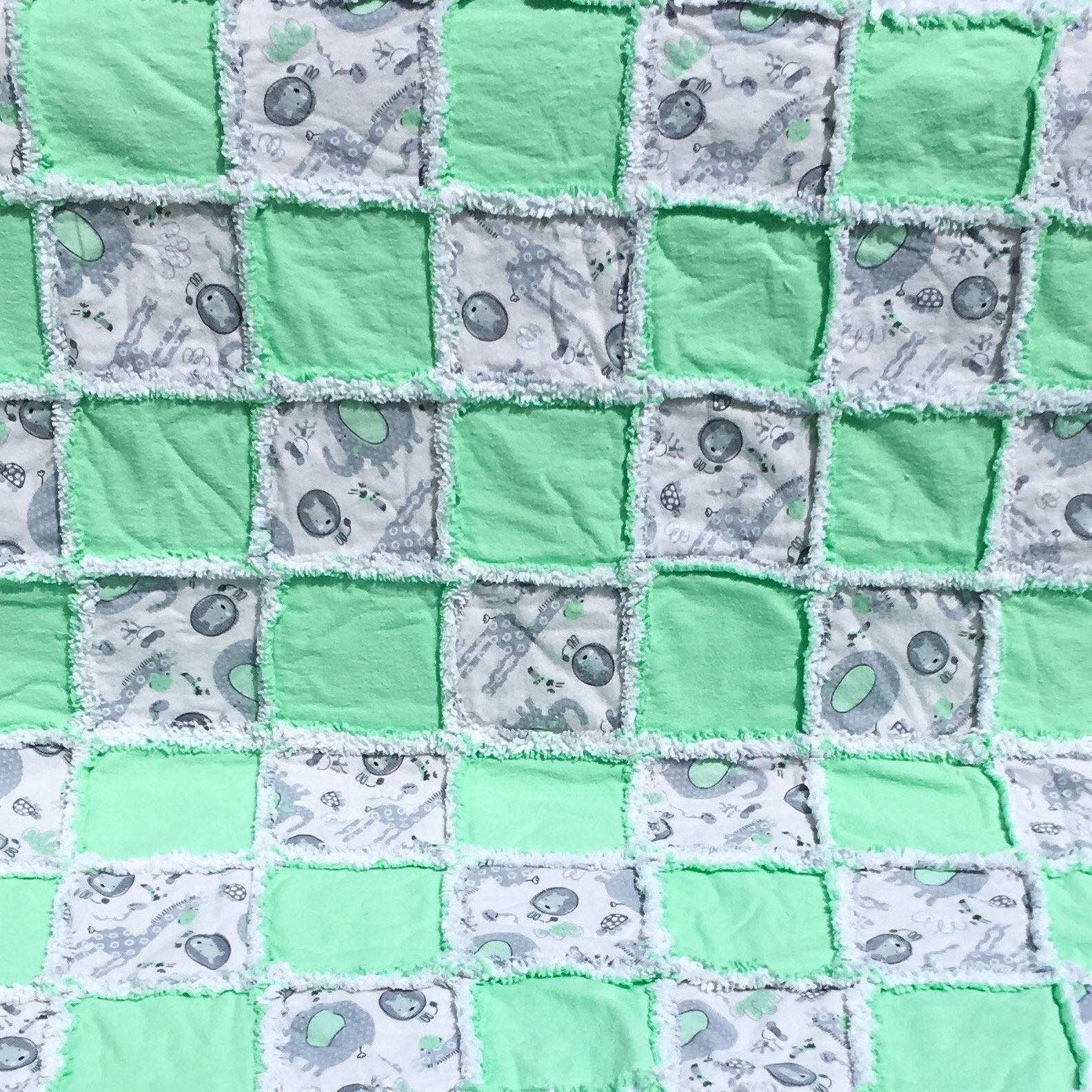 Mint and grey animals flannel baby rag quilt all natural cotton flannel