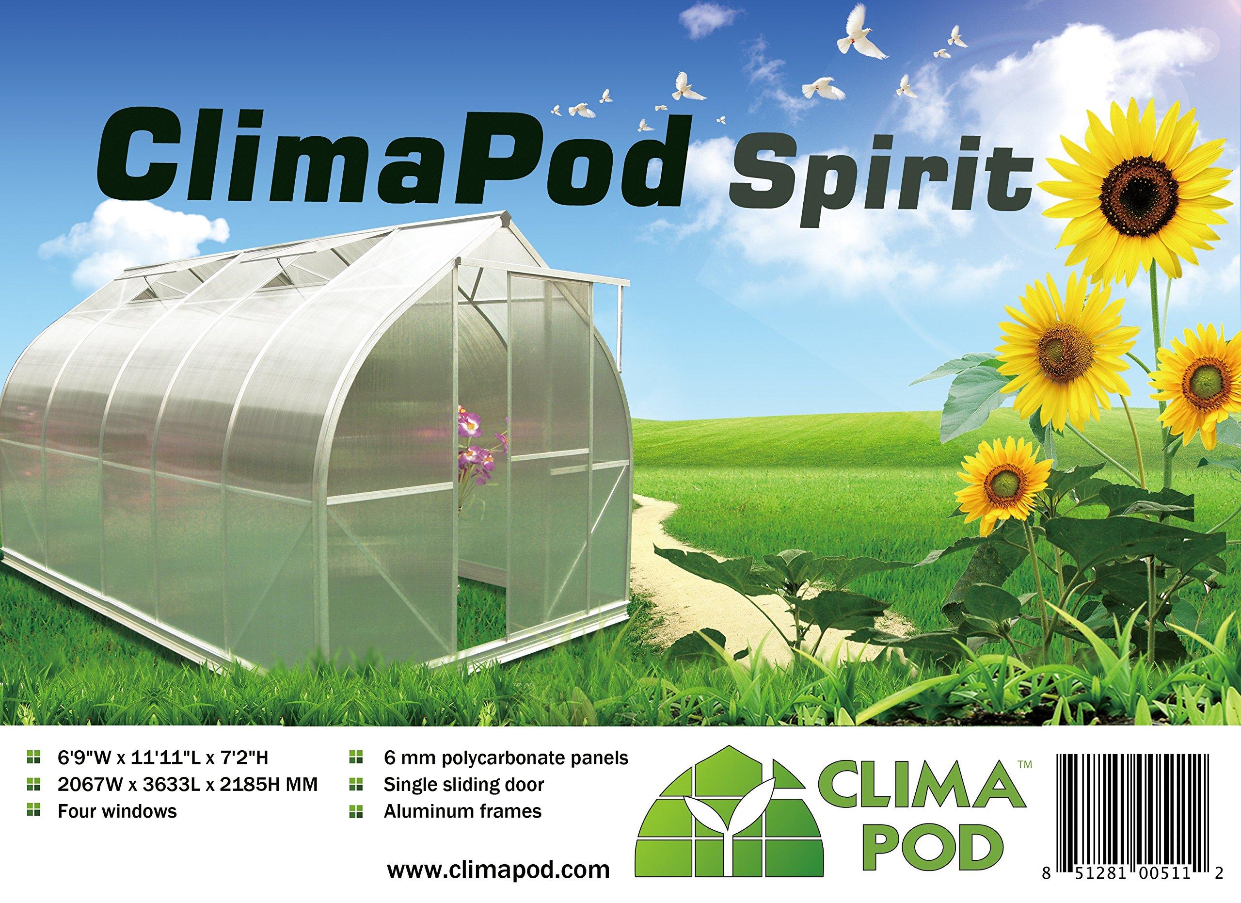 7x12 6-MM Twin-wall Polycarbonate Greenhouse, ClimaPod Spirit Complete kit by Climapod