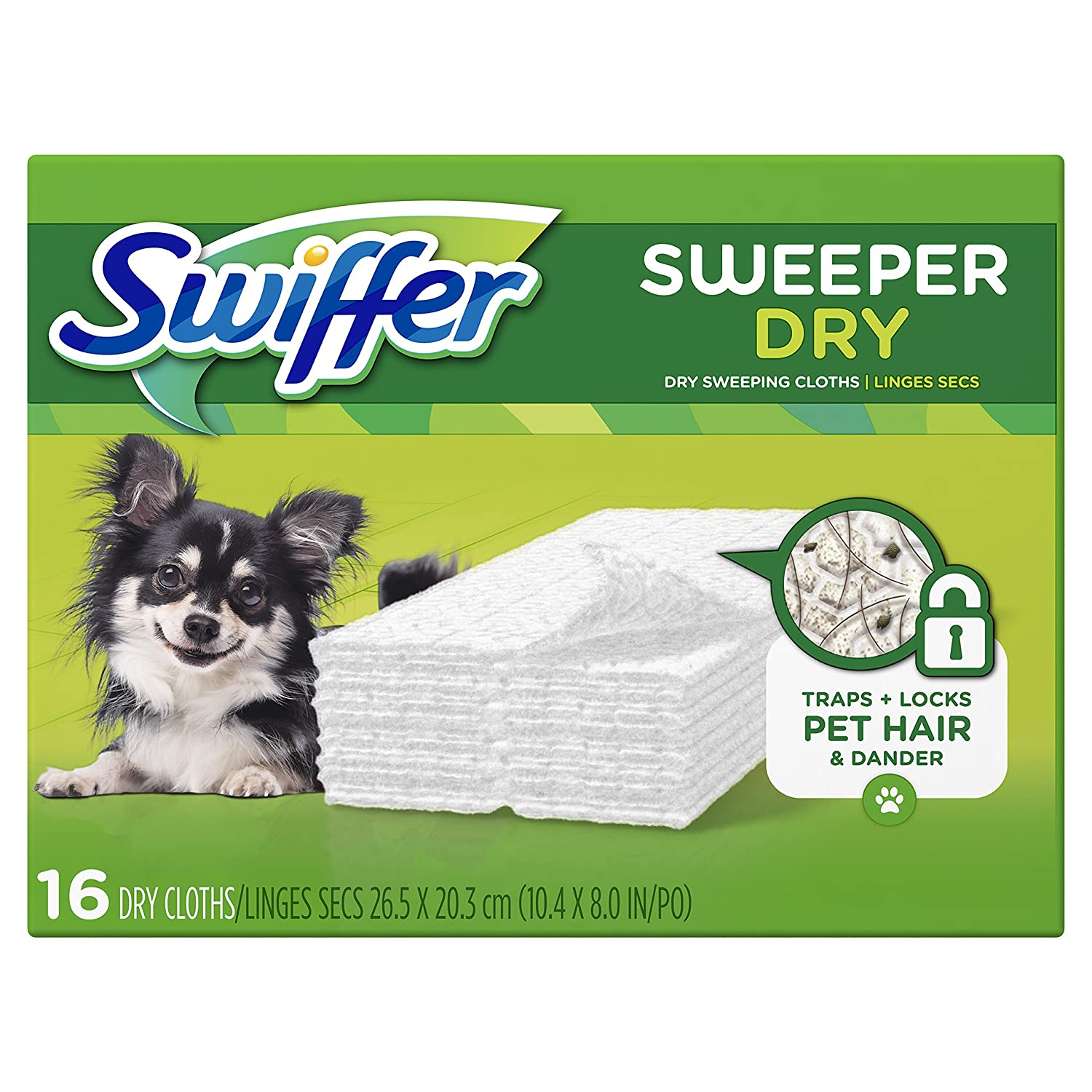 Swiffer Sweeper Dry Sweeping Cloths Traps Pet Hair, 16 Unscented Refills