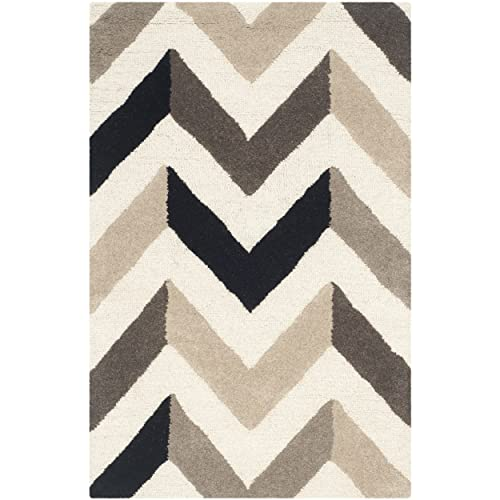 Safavieh Cambridge Collection CAM580C Handcrafted Moroccan Geometric Ivory and Black Premium Wool Area Rug 2 6 x 4