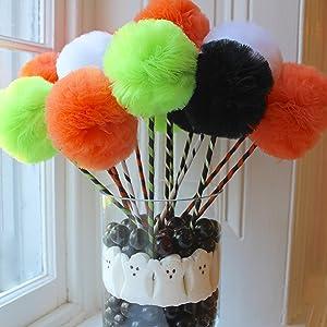 Halloween Tulle Pom Pom Wands