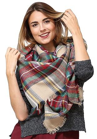 bf016160295449 Weicher Designer Schal für Damen by Sassyclassy | Oversize Tuch mit  Karomuster in Beige, Rot