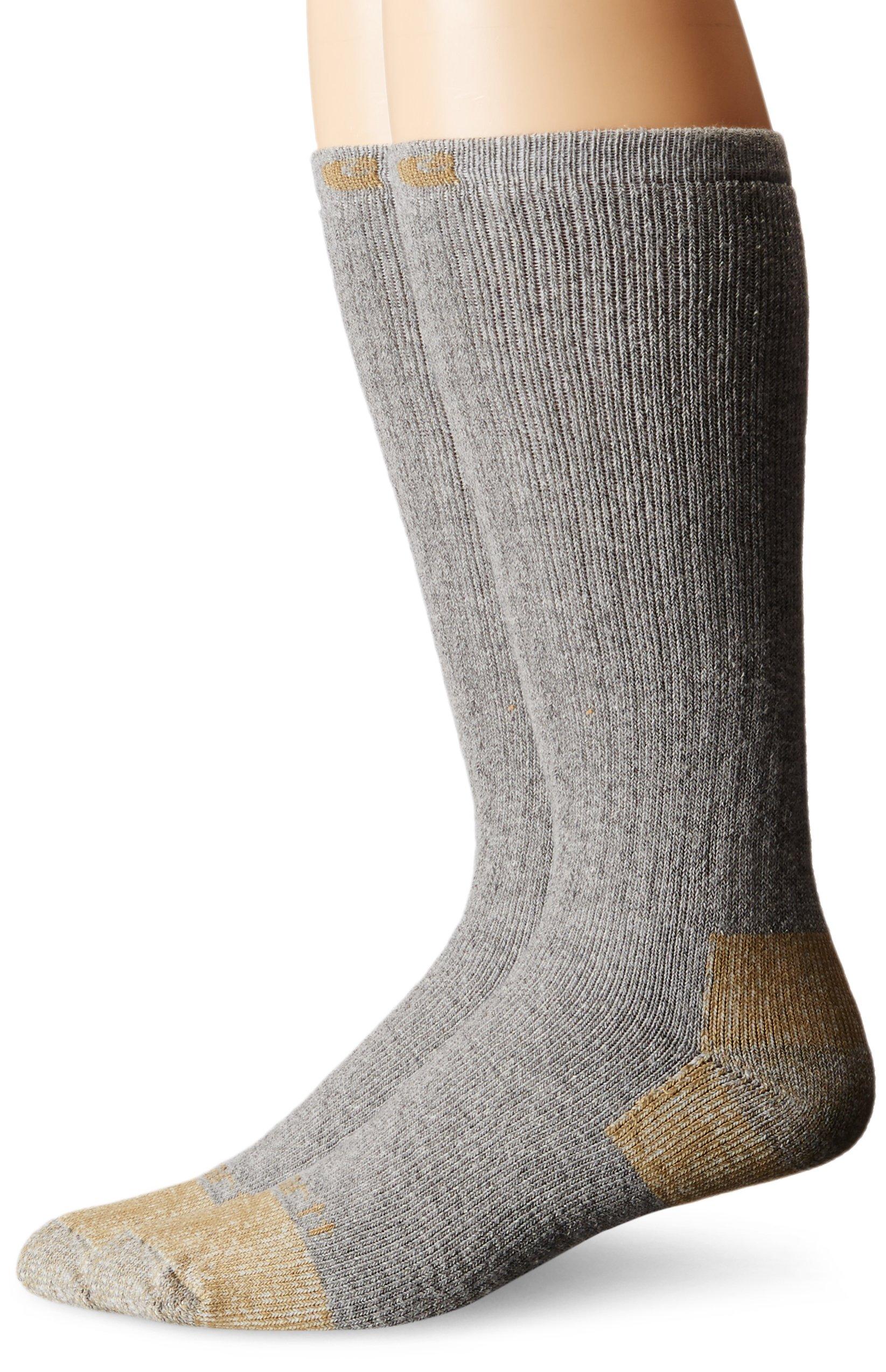 Carhartt Men's 2 Pack All Season Steel-Toe Sock, Gray, Large(Shoe Size:6-12/Sock Size: 10-13)