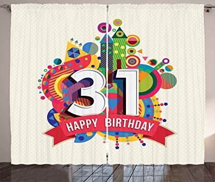 Ambesonne 31st Birthday Decorations Curtains Colorful Greeting Design For 31 Year Geometric Artsy Fun Graphic
