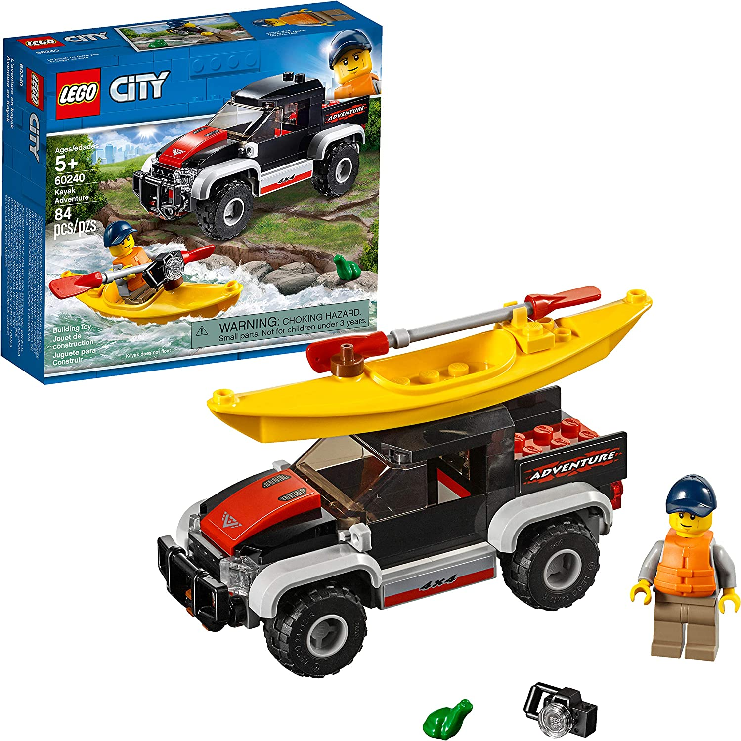 LEGO City Great Vehicles Kayak Adventure 60240 Building Kit (84 Pieces)