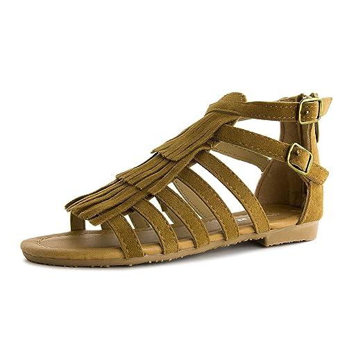69f5f7b6d8b2 Link Girls Rhinestone Ankle Strap Fringe Gladiator Flat Sandals Tan 9 M US  Toddler