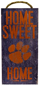"Fan Creations NCAA Clemson Tigers 6"" x 12"" Home Sweet Home Wood Sign"