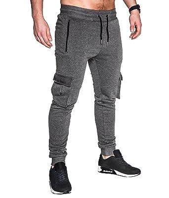 EightyFive Herren Jogginghose Sweatpants Zipper Gesteppt