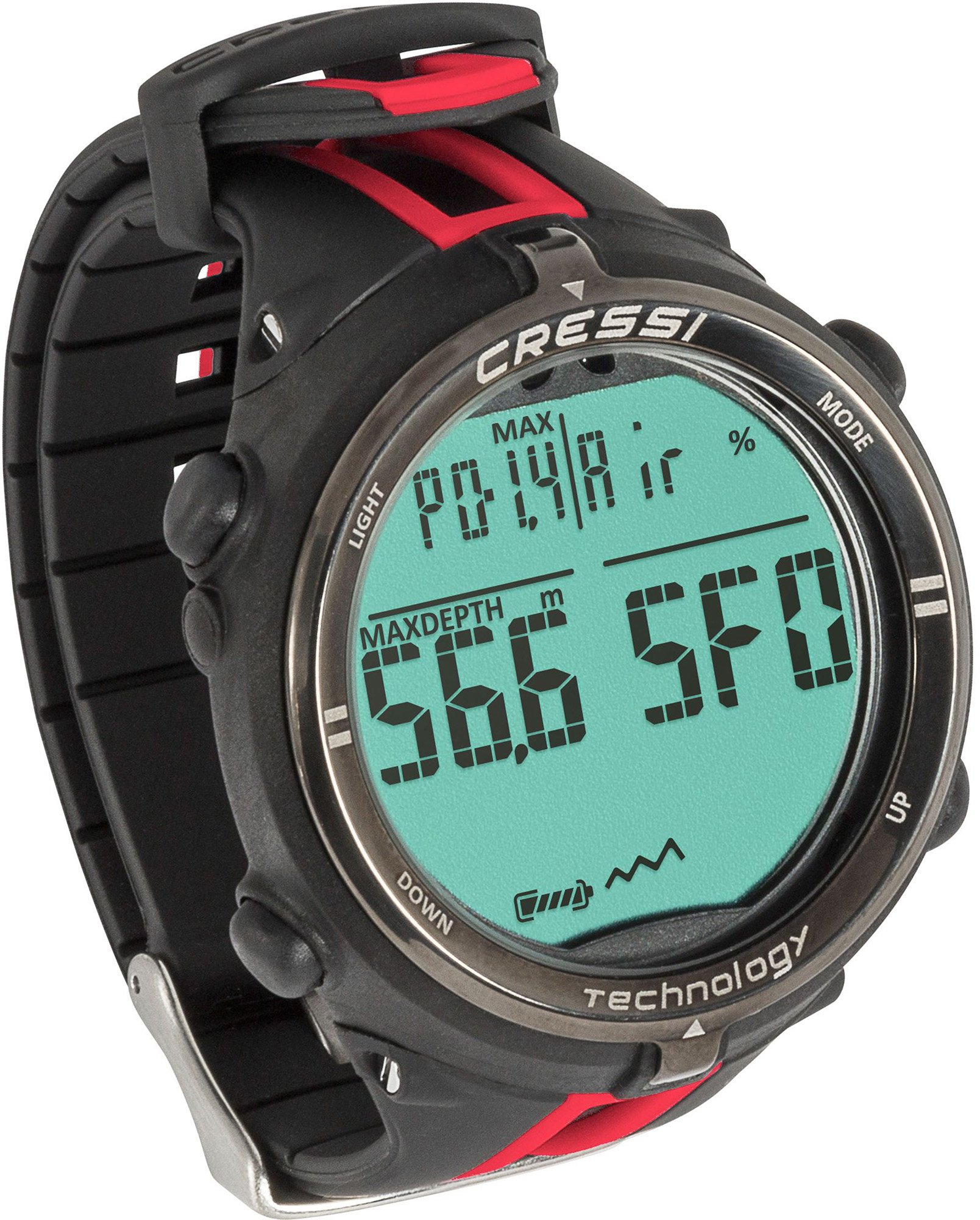 Cressi NEWTON TITANIUM Scuba Diving Computer Watch For Mixed Gas and Dives Log | Made in Italy by Cressi: Quality Since 1946 (Black/Red)