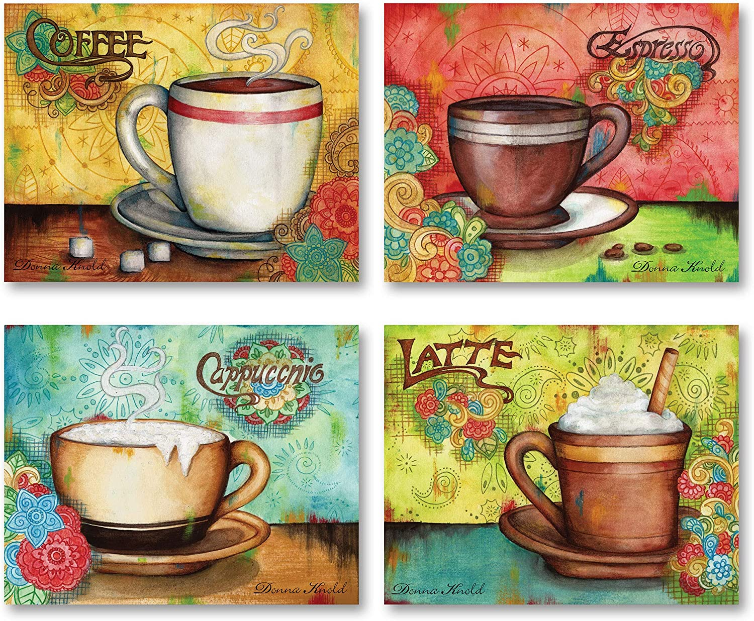 Popular Colorful Espresso, Coffee, Cappucino and Latte Set; Kitchen Decor, Four 10x8in Poster Prints