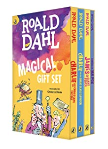 Roald Dahl Magical Gift Set (4 Books): Charlie and the Chocolate Factory, James and the Giant Peach, Fantastic Mr. Fox, Charlie and the Great Glass Elevator