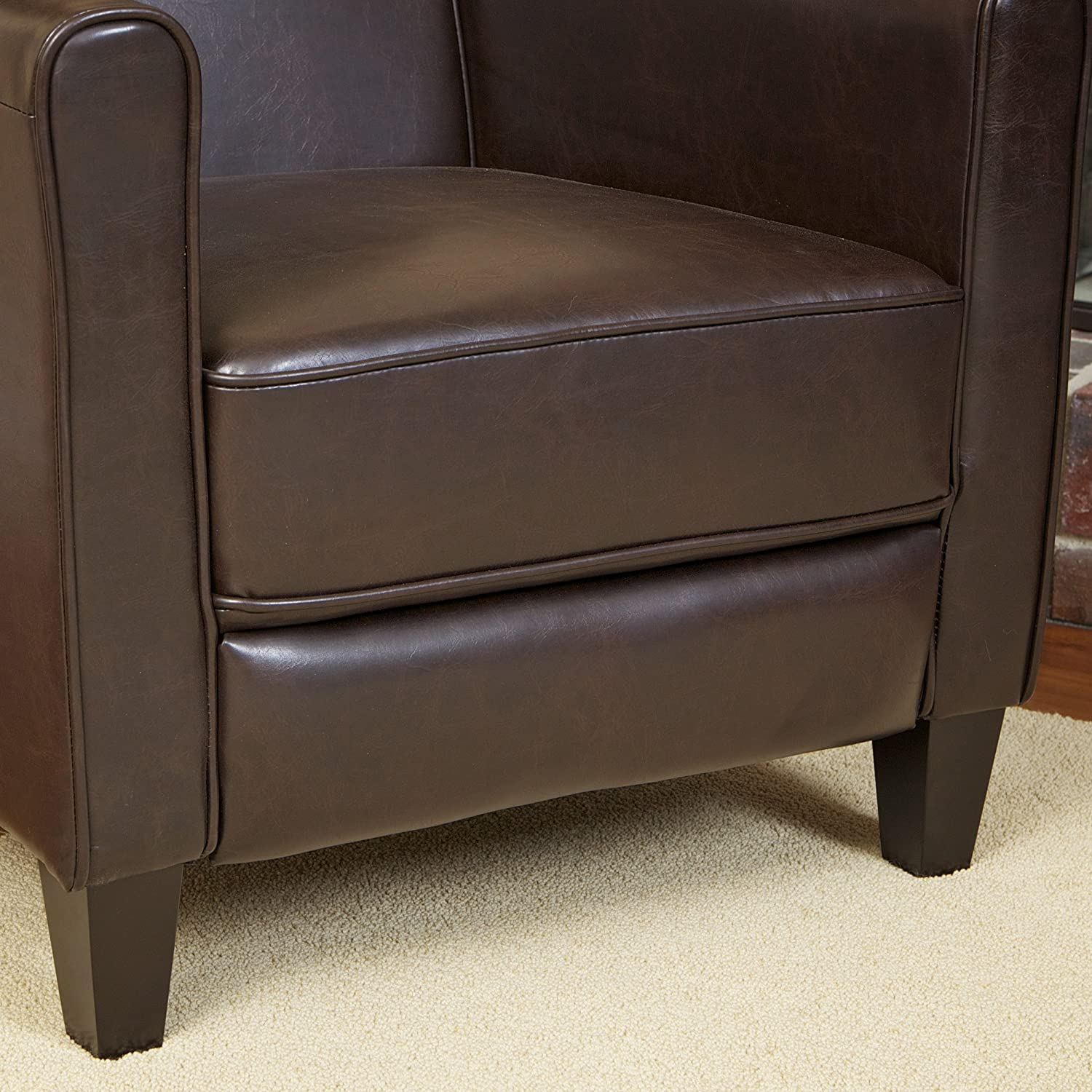 Lovely Amazon.com: Lucas Brown Leather Modern Sleek Recliner Club Chair: Kitchen U0026  Dining