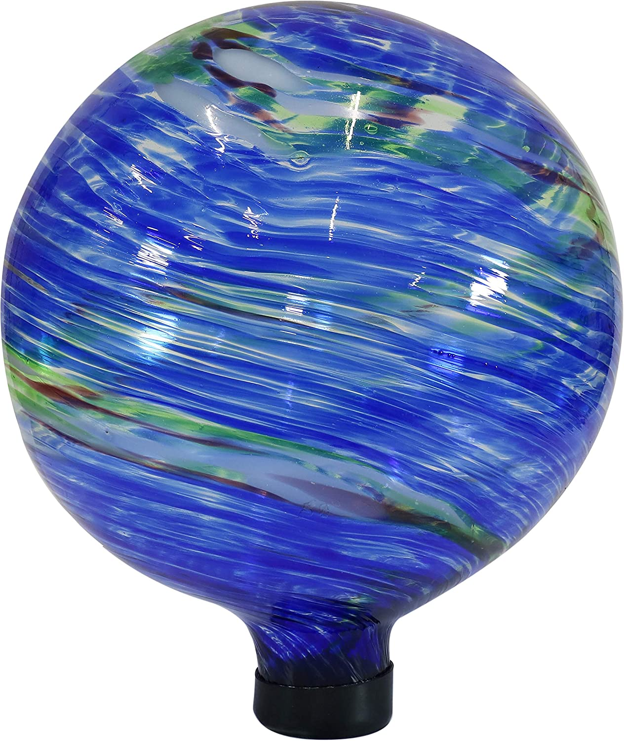 Sunnydaze Northern Lights Gazing Ball - Blue and Green Swirl Decorative Glass Garden Globe Sphere - Outdoor Patio, Lawn and Yard Orb Ornament - 10-Inch