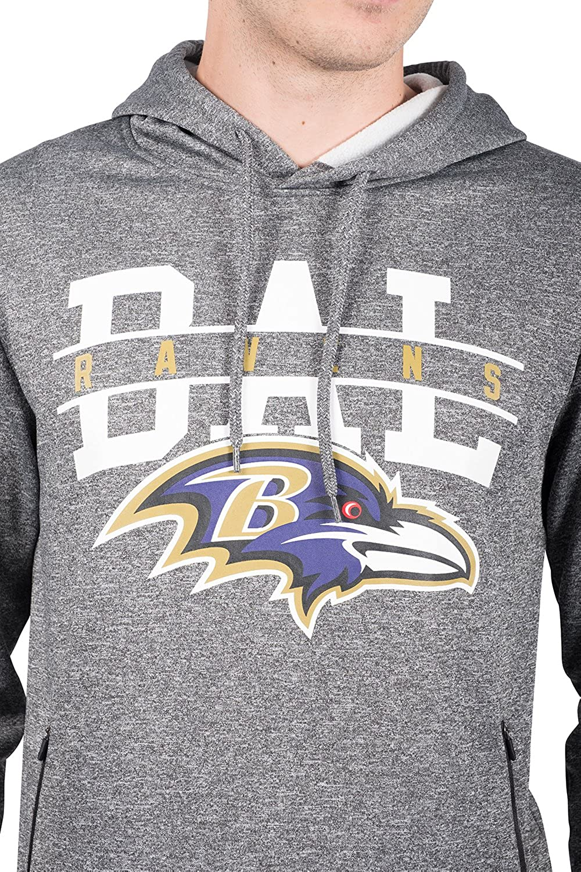 Ultra Game NFL Mens Fleece Hoodie Pullover Sweatshirt With Zipper Pockets
