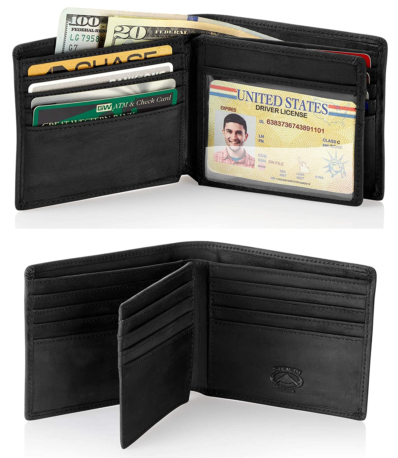 277e71c3fac7 Stealth Mode Leather Bifold Wallet for Men With ID Window and RFID Blocking