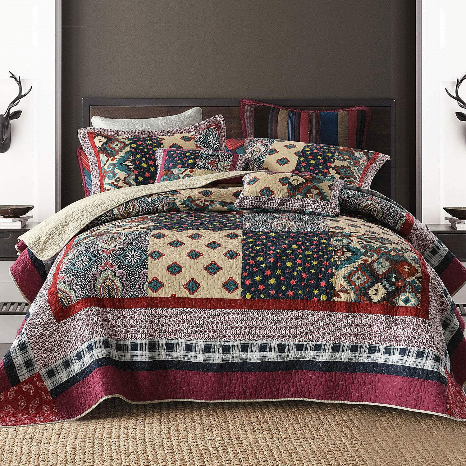 NEWLAKE Bedspread Quilt Set with Real Stitched Embroidery, Luxury Garden Pattern,Queen Size