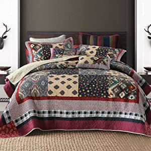 NEWLAKE Bedspread Quilt Set with Real Stitched Embroidery, Luxury Garden Pattern,King Size
