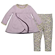 Burt's Bees Baby Baby Organic Long Sleeve Dress with Footless Pant, Morning Haze Pointelle, 0-3 Months