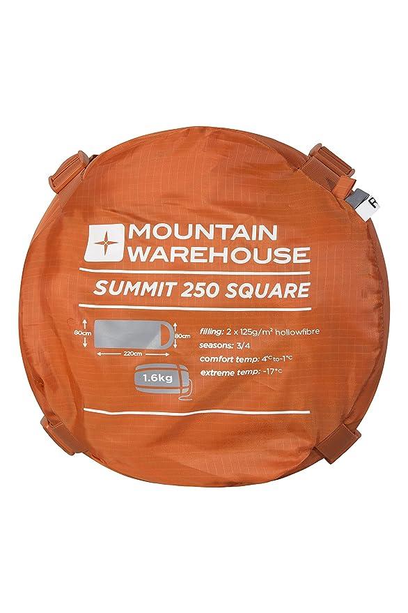 Mountain Warehouse Saco de Dormir Tipo Rectangular Summit 250 - Saco de Acampada con Aislamiento de Fibras Huecas, Saco para Viajar con Solapa de ...