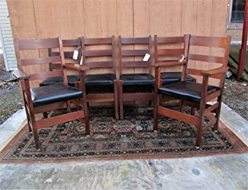 Pleasant Amazon Com Antique Set Of Six 4 Gustav Stickley And 2 Ljg Alphanode Cool Chair Designs And Ideas Alphanodeonline