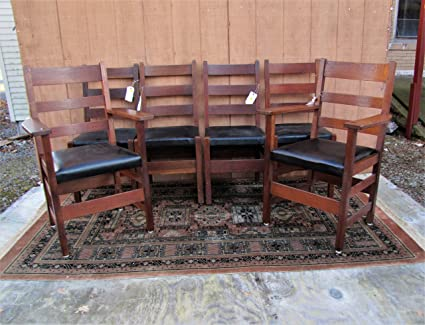 Antique Set Of Six 4 Gustav Stickley And 2 Lu0026jG Stickley Dining Chairs W6000