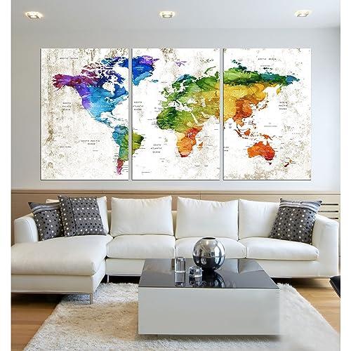 Amazon xlarge world map canvas artvintage map poster printed xlarge world map canvas artvintage map poster printed on canvas framed map of world gumiabroncs Images