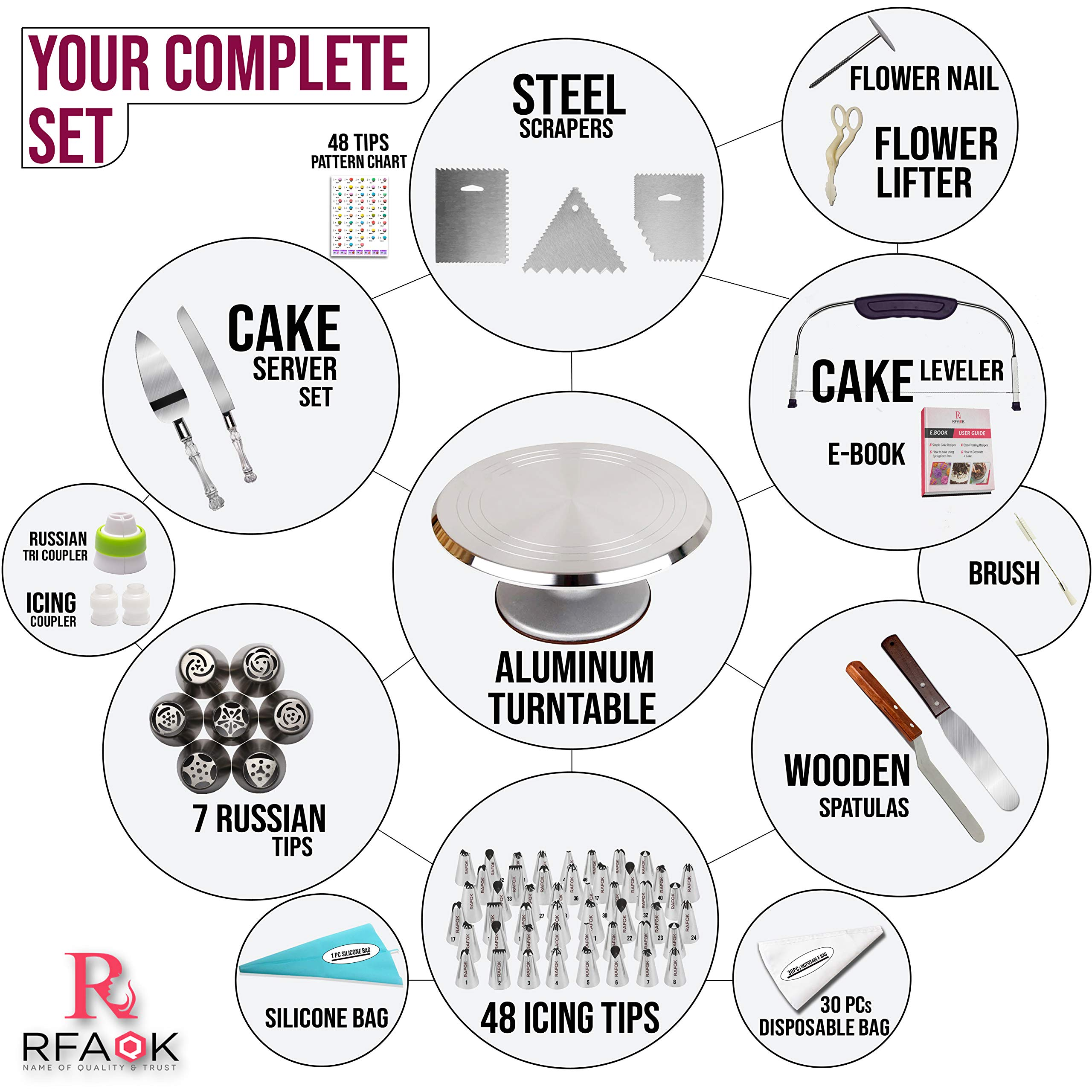 100 Pcs Cake Decorating Kit with Aluminum Metal Turntable-Rotating Stand-Cake server & knife set-48 Numbered Icing tips-7 Russian Piping nozzles-Straight & Angled Spatula-Cake Leveler& Baking supplies by RFAQK (Image #2)