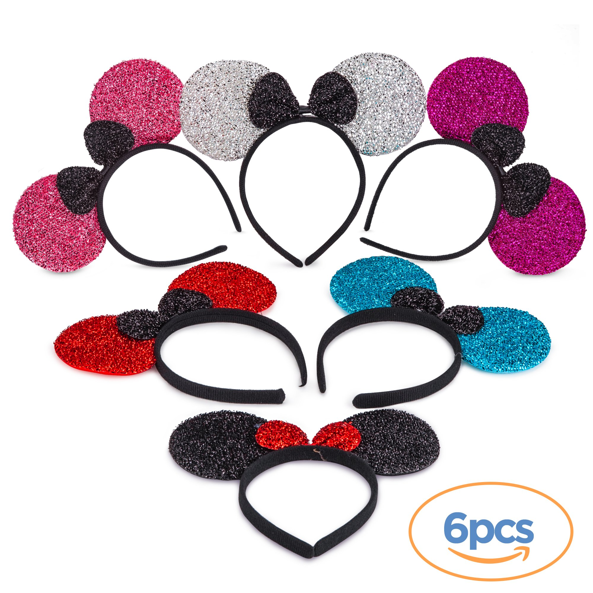 Flexible Minnie Mouse Ears - Perfect for Costume Accessories and Kids Parties - Pack of 6, Solid Black and Red Bow