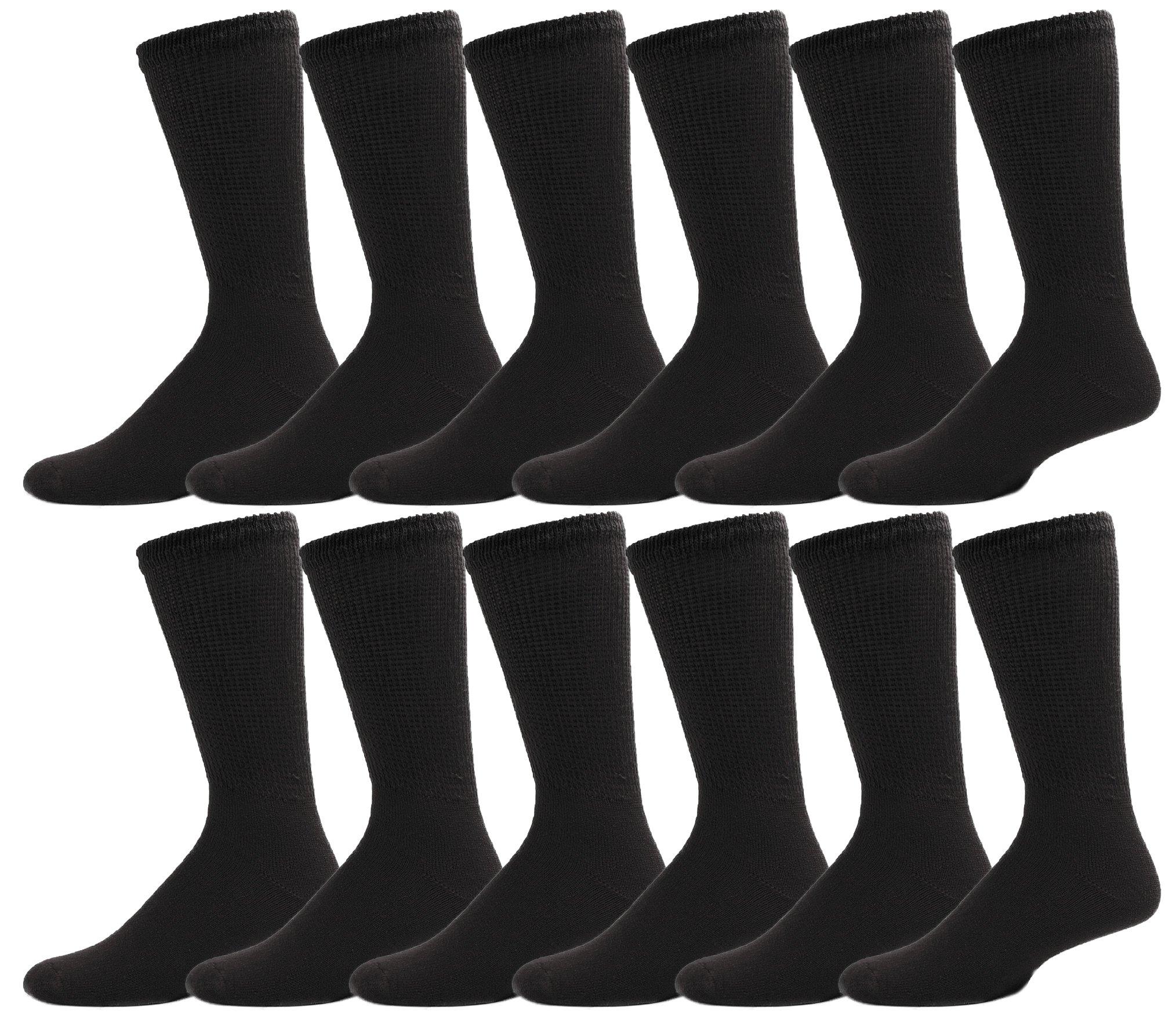 12 Pairs Diabetic Socks for Women, Non Binding Cotton Sock, Promotes Blood Circulation, Bulk Pack Ladies (Black)