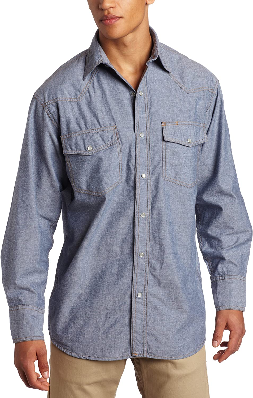 Key Industries Mens Long Sleeve Western snap pre-Washed Chambray Shirt Big//Tall