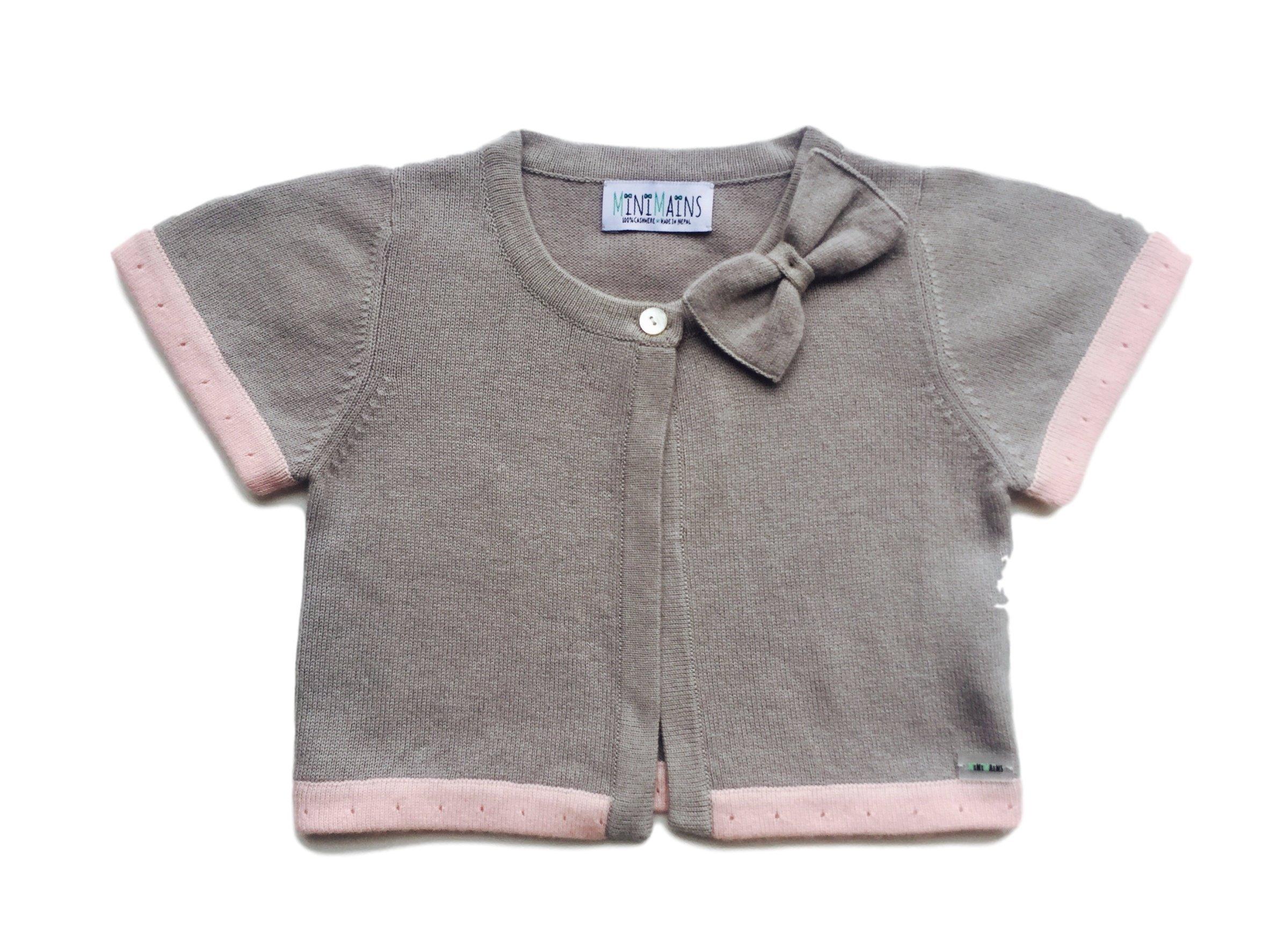 Minimains Little Girls' Pure Cashmere Bolero Cardigan With Bow 4y Grey