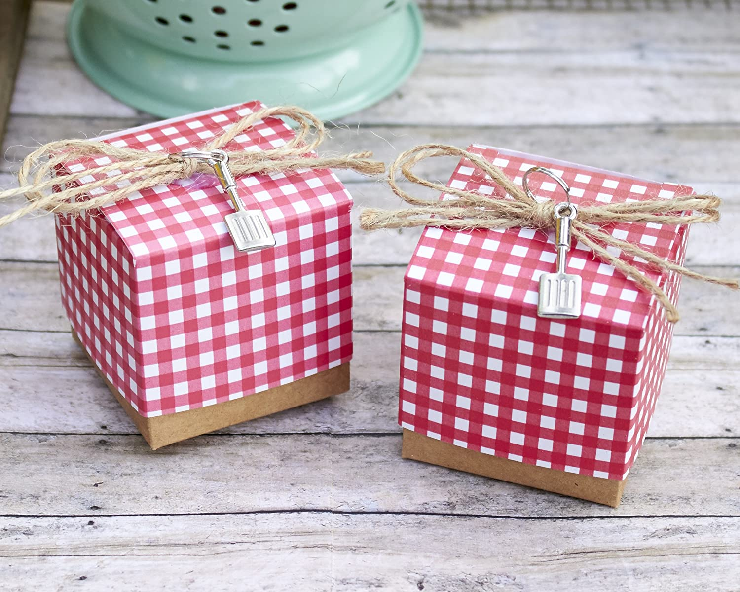 Amazon.com : Kate Aspen Red Gingham Favor Box with Spatula Charm ...