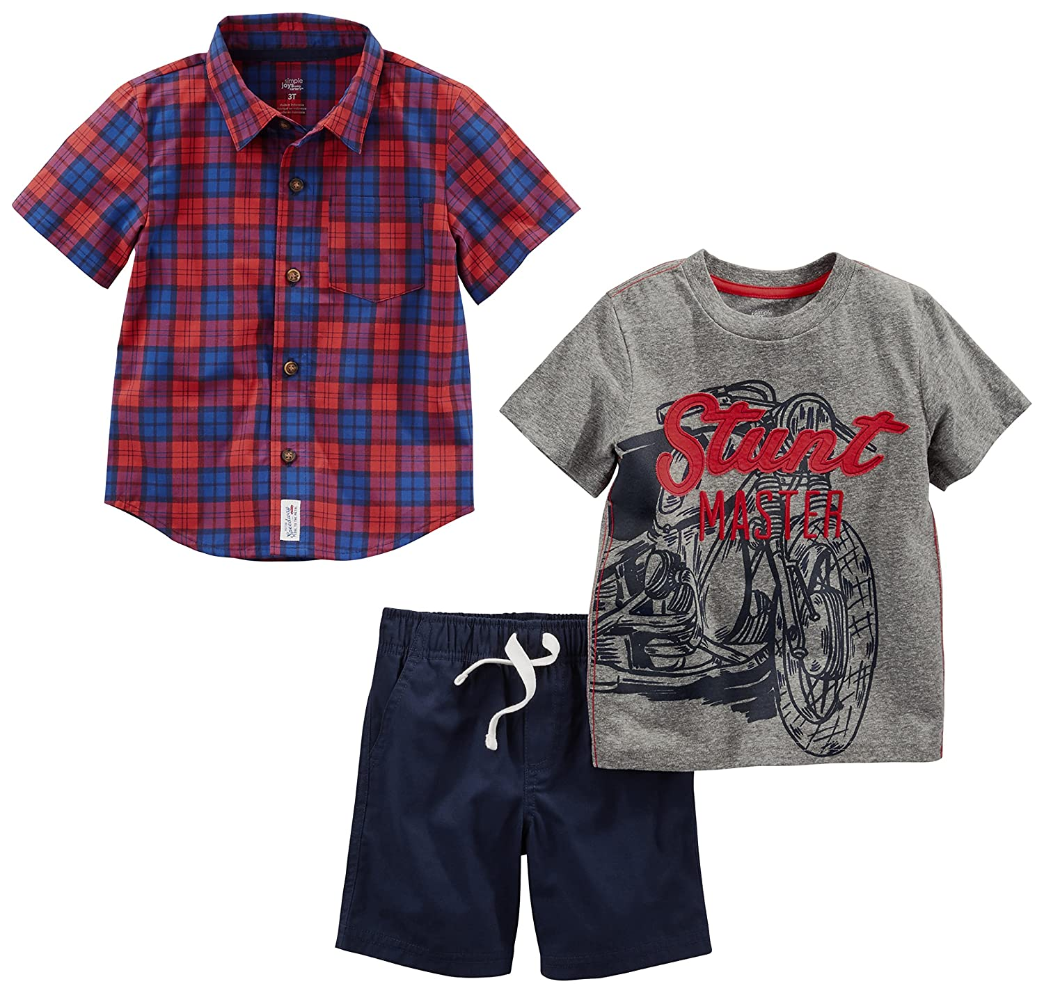 and Shorts Playwear Set Shorts Sets Simple Joys by Carters boys 3-Piece Button Up Tee