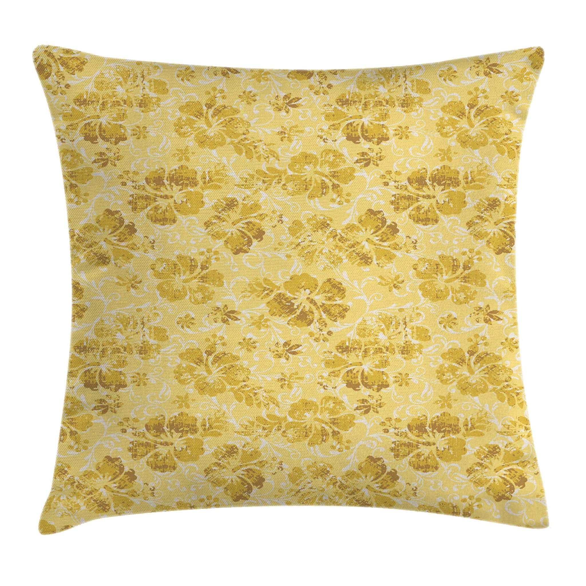 Ambesonne Hawaiian Throw Pillow Cushion Cover, Hibiscus Flowers Pattern Grunge Tropical Beach Theme in Hawaii Nature Picture, Decorative Square Accent Pillow Case, 18'' X 18'', Yellow White