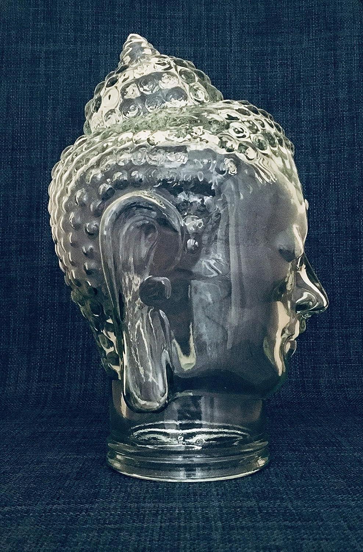 decorazione per casa e giardino Statua decorativa a forma di testa di Buddha 16 x 23 cm Joanna Prime fatta a mano in cristallo trasparente 1023 g