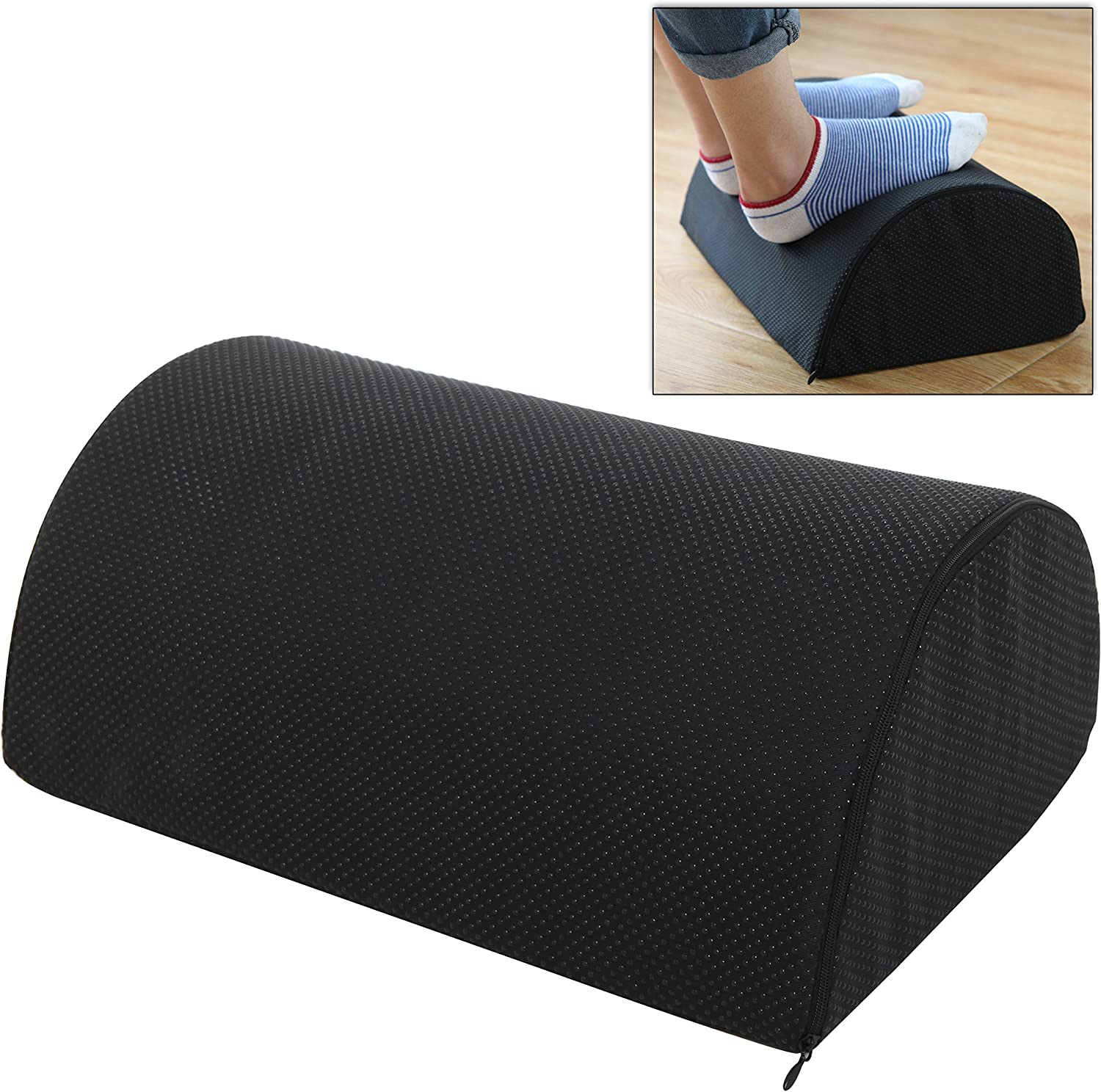 16 inch Half Cylinder Foam Upholstered Foot Cushion Leg Elevator, Removable Black Cotton Cover Support Pillow