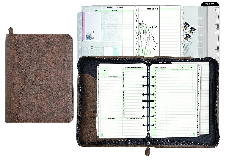 7 Ring 43184 Desk Size 5-1//2 x 8-1//2 Undated Brown Day-Timer Distressed Look Starter Set Organizer