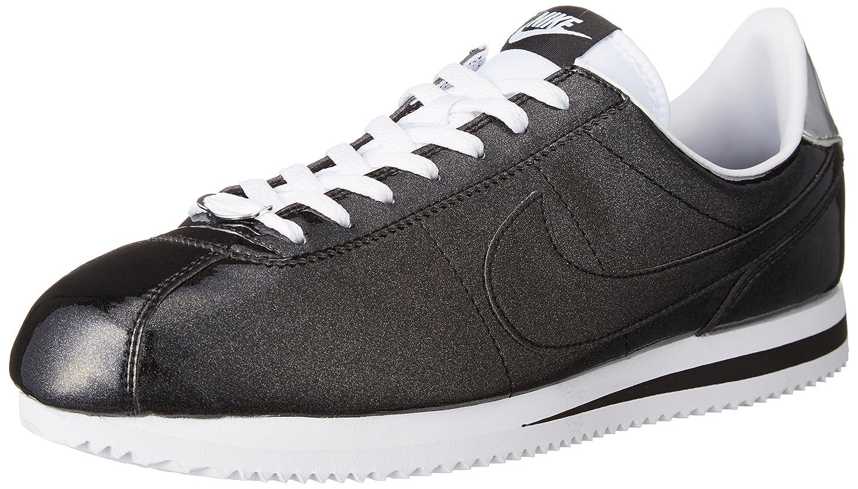nike cortez mens black white; nike cortez basic premium qs casual shoes  black white metallic silver 819721 001 durable modeling