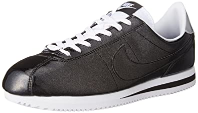new style 54465 5c9e3 Nike Mens Cortez Basic Premium QS BlackWhite-Silver Leather Size 10